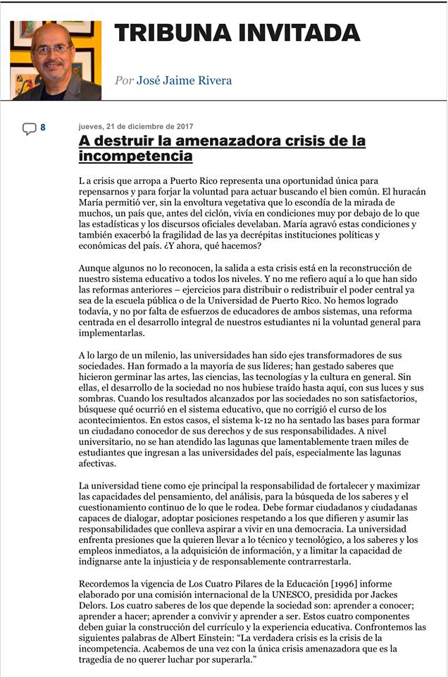 Columna escrita por el Dr. José J. Rivera